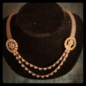 Great vintage rhinestone and mesh necklace!